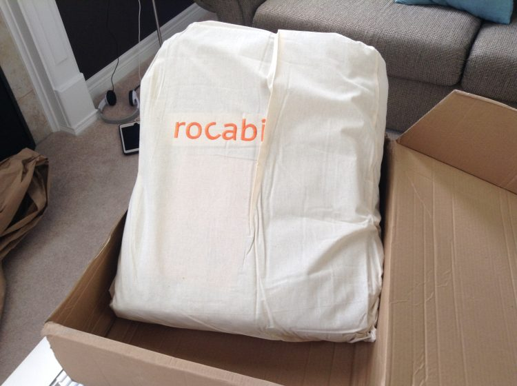 Rocabi weighted blanket within carrying bag.